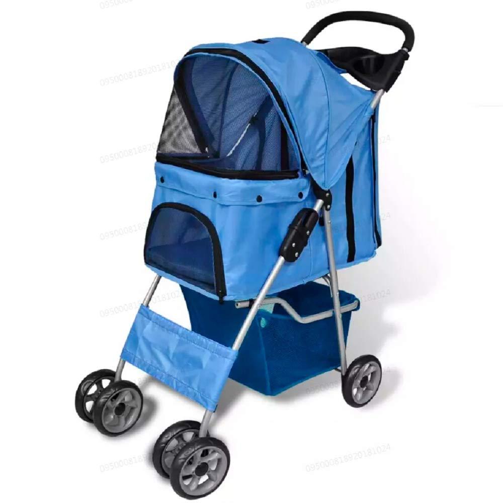 OAKOME VidaXL Pet Stoller Folding Dog Trolley Wheel Trailer Transport(bluee)
