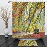 Vipsung Shower Curtain And Ground MatFarm House Decor Collection Autumn View of A Bench under Bright Colored Fall Leaves Freshening Season Print Green OrangeShower Curtain Set with Bath Mats Rugs