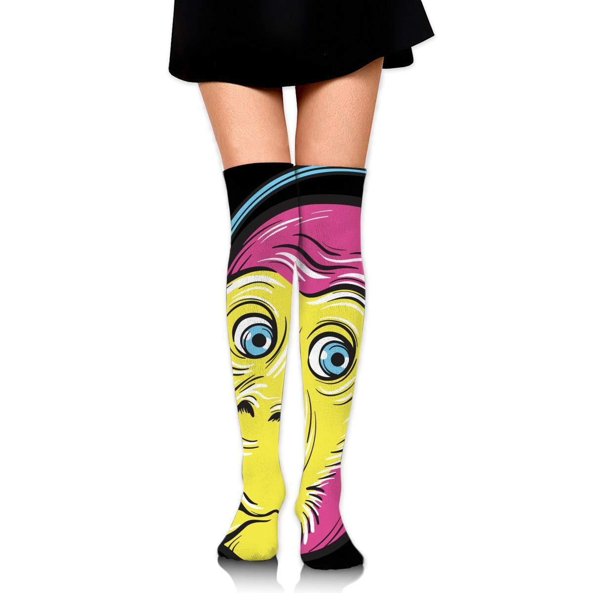 Womens//Girls Monkey Wearing Headphones Casual Socks Yoga Socks Over The Knee High Socks 23.6