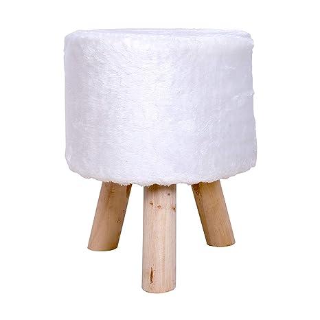 Rebecca Mobili RE4534 Pouf Poggiapiedi Pelo per Soggiorno Sala, Complementi  D\'Arredo, Bianco, 45 x 35 x 35 cm