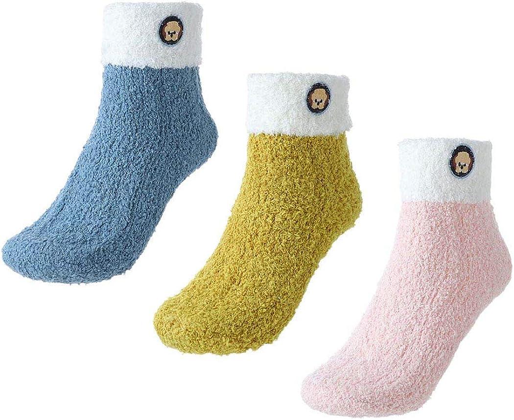 3 paia IYOU Inverno Fuzzy Calzini Blu Caldo Pantofola Calzini Peluche Microfibra Soffice Calzini Casuale Accogliente Casa Dormire Corallo Vello Calzini per Donne e Ragazze