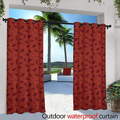 Lightly Outdoor Balcony Privacy Curtain,Seamless Pattern of Grey Poinsettia Flower on a Blue Background for a Background or Wallpaper,W84 x L108 Outdoor Patio Curtains Waterproof with Grommets