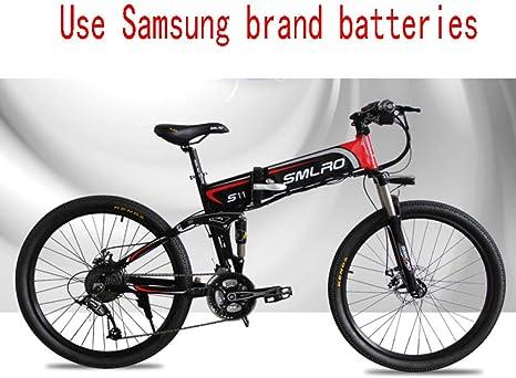 Knewss Focus on Life 26 Pulgadas Aleación de Aluminio Suspensión Completa Marco Plegable Bicicleta eléctrica Bicicleta de montaña E-48V 14A 800W: Amazon.es: Deportes y aire libre
