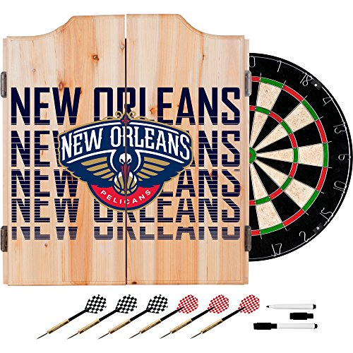 Trademark Gameroom NBA7010-NOP3 NBA Dart Cabinet Set with Darts & Board - City - New Orleans Pelicans by Trademark Global