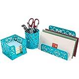 EasyPAG Desk Organizer Accessories Set 3-Piece Includes Letter Sorter, Pen Holder and Sticky Notes Holder,Dark Teal