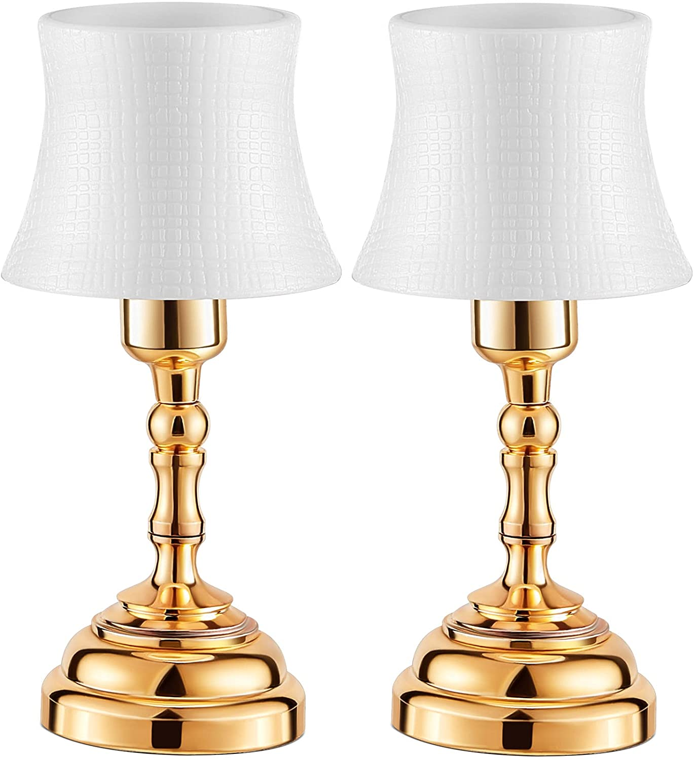 Mudder 2 Pieces Dollhouse Miniature Lamp LED Desk Lamp Mini Light Dollhouse Decoration Accessories Battery Operated with ON/Off Switch and Lamp Shade (Table Lamp)