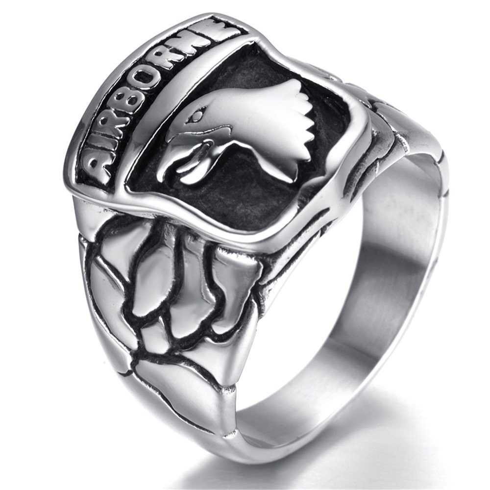 LUZO Jewelry Stainless Steel 101st AIRBORNE Divisions Screaming Eagle US Army Military Ring by LUZO (Image #4)