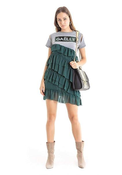 GAELLE Abito GBD3021 Mezza Manica Rouches Verde Grigio fw 18 19  Amazon.it   Abbigliamento 199b27c8865
