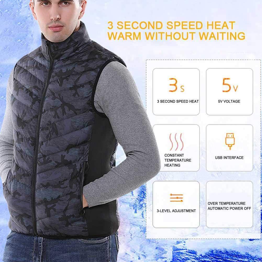 pretty-H Heizweste Herbst Und Winter Smart USB Elektrische Heizweste M/änner Outdoor Angeln Kleidung Schnelle Heizung Thermostat Weste