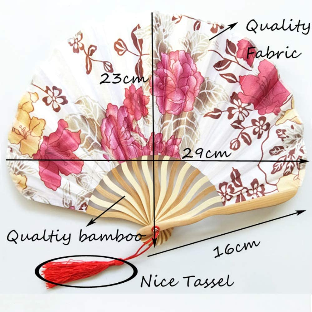 gxianjizuibaihuodia Chinese Style Hand Held Fans Silk Bamboo Folding Fans Handheld Wedding Cool Bamboo Flower Fan China A