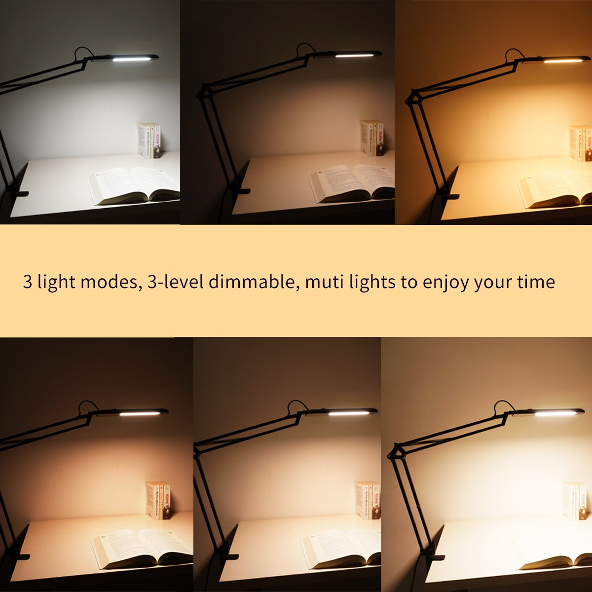 ToJane LED Architect Desk Lamp,Drafting Clamp on Table Lamp, 9 Light Modes Dimmable Work/Reading Light by ToJane (Image #3)