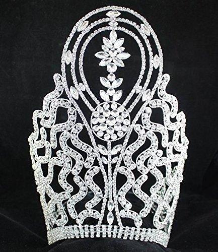 JANEFASHIONS Huge Beauty Queen Crown Tiara Clear Austrian Rhinestone Crystal Pageant T1415