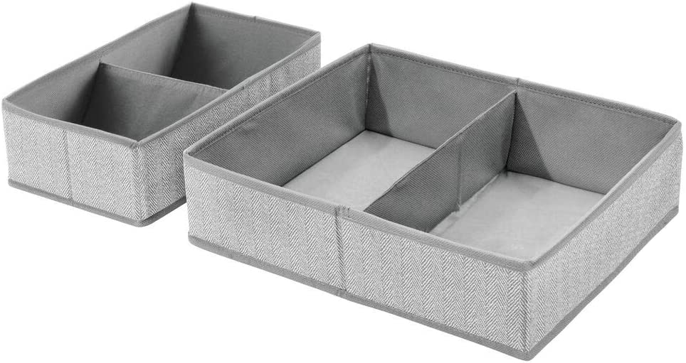 mDesign Set of 2 Divided Storage Boxes /— Bedroom Organiser Boxes for Clothes and Accessories /— Clothes Storage Boxes for Wardrobes and Drawers /— Dark Grey//Black