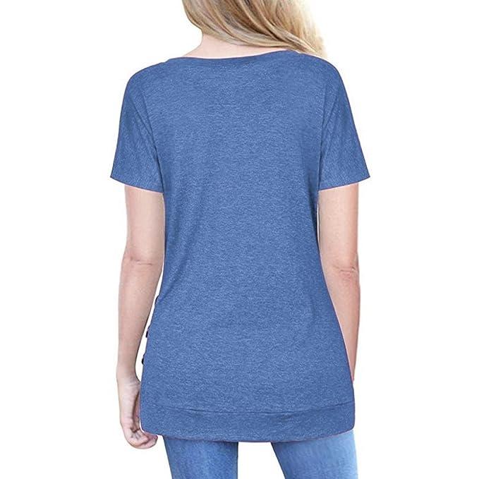Otoño Estilo Mujeres de Manga Corta botón Flojo Trim Blusa de Color sólido túnica Cuello Redondo Camiseta para España Mujeres: Amazon.es: Deportes y aire ...