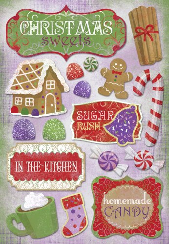 (KAREN FOSTER Design Acid and Lignin Free Scrapbooking Sticker Sheet, Christmas Sweets)