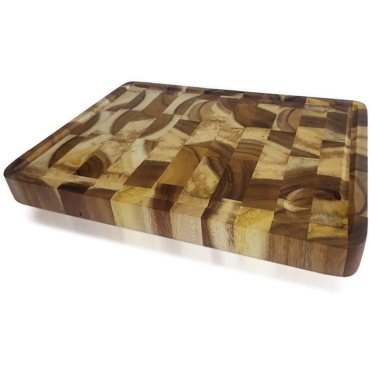 roro Rectangular End-Grain Acacia Kitchen Wood Cutting Board and Block by roro (Image #2)