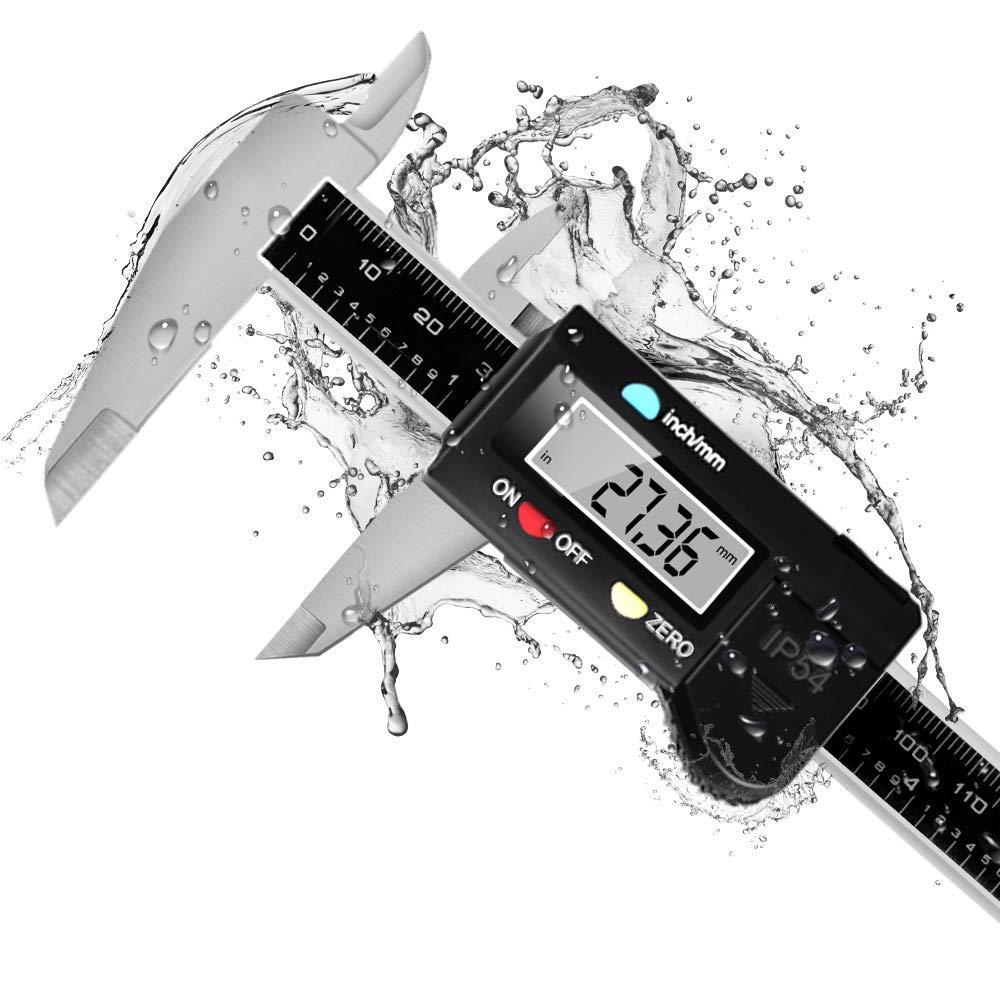 Dijite WPDC-01 Digital Caliper Waterproof Electronic Digital Vernier Caliper Electronic Caliper 0-6 Inch//150 mm Inch//Millimeter Conversion Large LCD Screen Auto Off Carbon Fiber Composite Measuring Tool