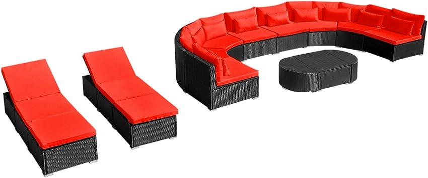 vidaXL Meuble avec Chaises Longues Rouge Poly Rotin Salon de ...