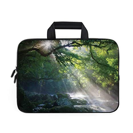 7558e3a7b216 Rainforest Decorations Laptop Carrying Bag Sleeve,Neoprene Sleeve Case/Stream  in The Jungle Stones