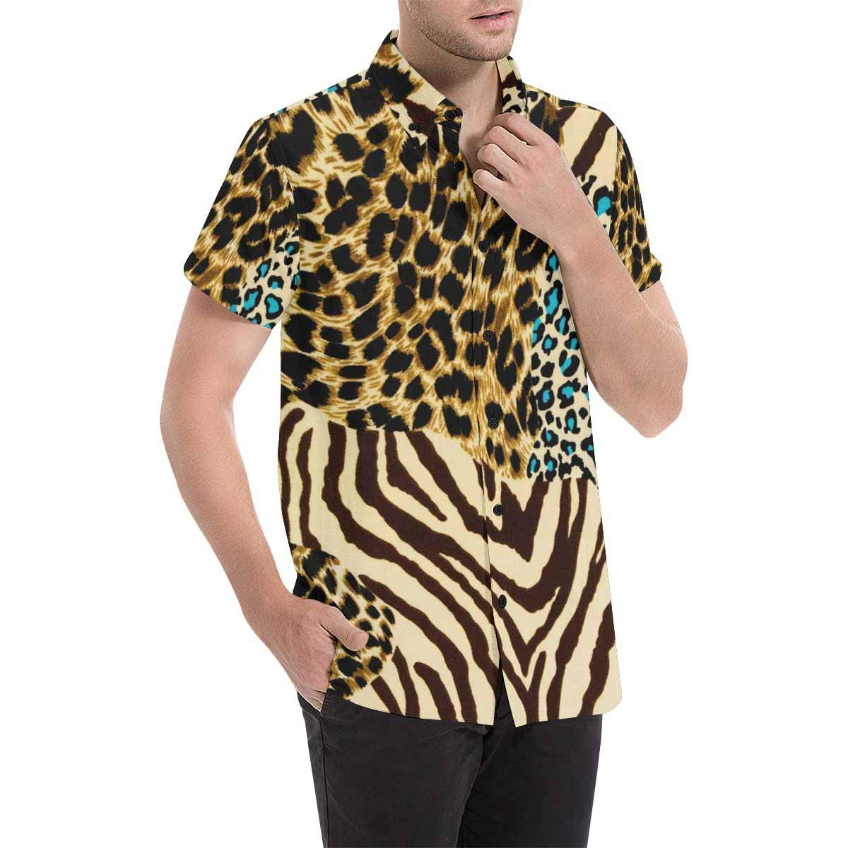 InterestPrint Mens Botton Up Tiger and Leopard Skin Short Sleeve Shirts S-5XL