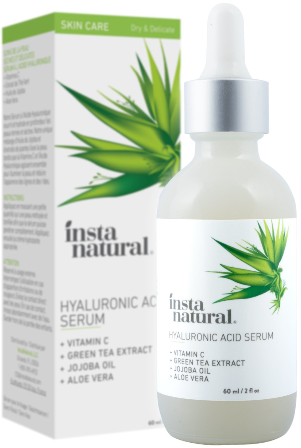 InstaNatural - Hyaluronic Acid Serum - With Vitamin C, Organic & 100% Pure Ingredients for Dry Skin, Wrinkle, Fine Line, Eye Bag Defense - Advanced Anti Aging Moisturizer for Men & Women - 2 oz by InstaNatural