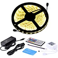 LUMINOSUM LED Light Strip Warm White Kit Dimmable, 5M (16.4ft) SMD5050 300LEDs Waterproof, with RF Dimmer Controller and…