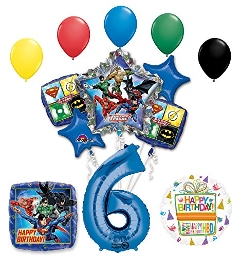 The Ultimate Justice League Superhero 6th Birthday Party Supplies and Balloon Decorations -