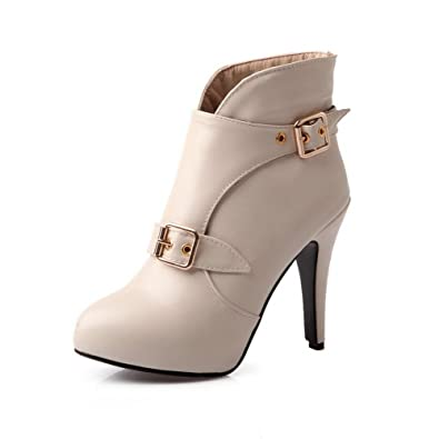 Women's High-Heels Solid Round Closed Toe Soft Material Buckle Boots