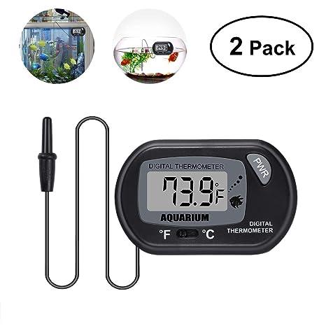 UEETEK 2 piezas termómetro LCD digital para peces de acuario terrario reptil bivalvo (negro)