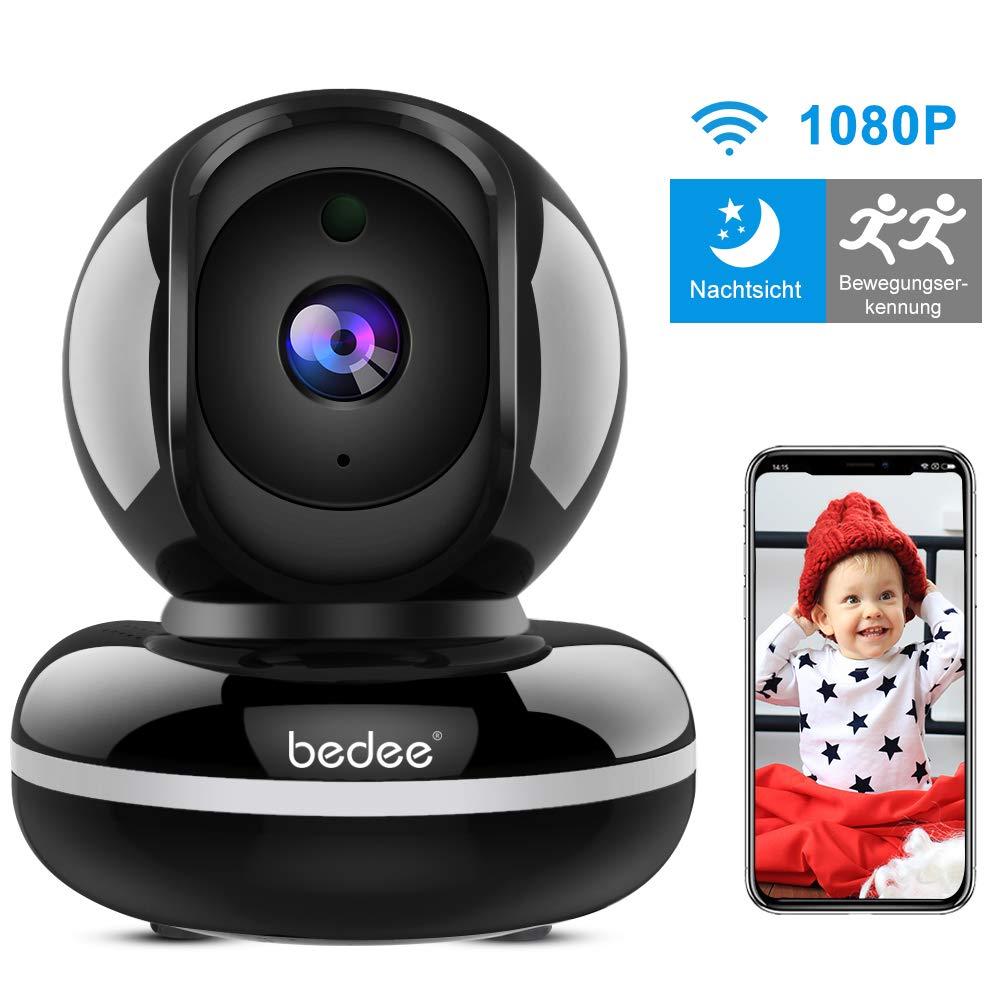 WLAN IP Kamera, bedee WiFi Überwachungskamera 1080P HD Sicherheitskamera mit Bewegungserkennung, Zwei-Wege-Audio WLAN Handy Kamera Indoor Nachtsicht, Haustier/Home/Baby Monitor 355°/110° Schwarz