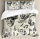 Ambesonne Music Duvet Cover Set King Size, Sketchy Background Hipster Skull with Headphones Record Player Mic Speakers Print, Decorative 3 Piece Bedding Set with 2 Pillow Shams, Beige Black