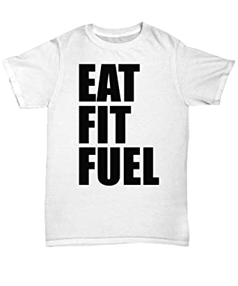 80d580f1c mmandiDESIGNS Eat Fit Fuel T Shirt - Cool White Tee Shirt Graphic ...