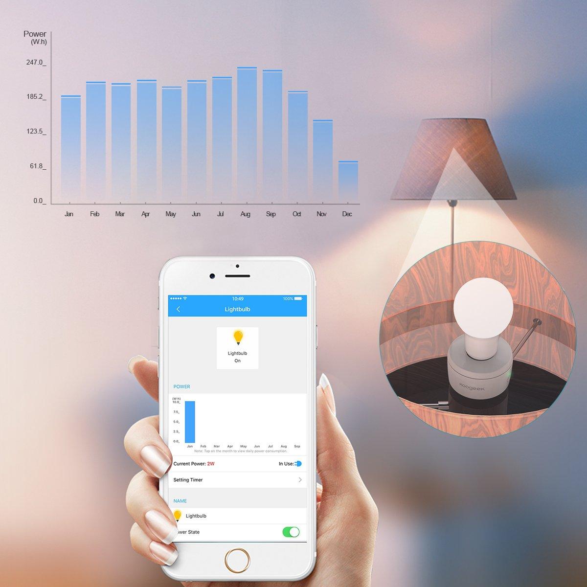 Koogeek Smart Socket WiFi Enabled E26 Light Bulb Adapter Works with Apple HomeKit Support Siri Voice Control Home App on 2.4Ghz Network by Koogeek (Image #2)