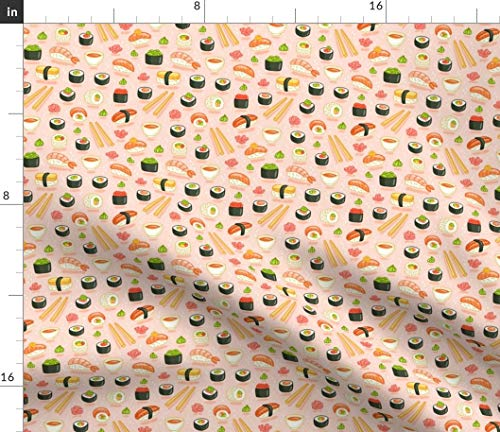 Spoonflower Kawaii Sushi Fabric - Pink Kawaii Japanaese Food Sushi Sushi Food Pattern Japanese Chopsticks Rice Wasabi Kawaii by Stolenpencil Printed on Petal Signature Cotton Fabric by The Yard