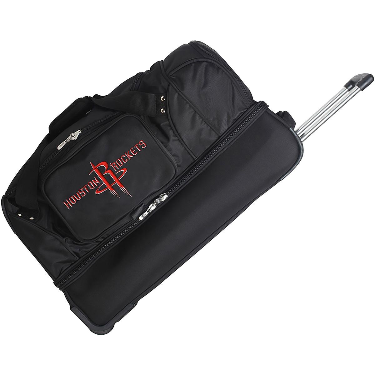 DENCO HOUSTON ROCKETS 27'' 2-WHEELED DROP BOTTOM DUFFEL