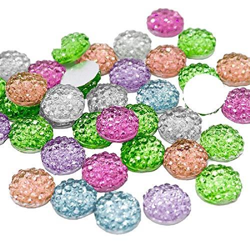 - 10mm Mixed Rhinestone Resin Round Flatback Beads Cabochon Scrapbook DIY Crafts Decoration Accessories 50pcs/100pcs (Mixed Colors 100pcs)