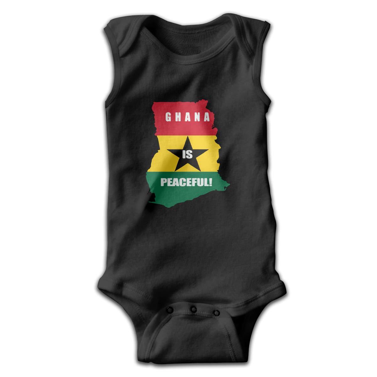 CZDewQ80 Newborn Ghana is Peaceful Sleeveless Baby Clothes Pajamas Sleepwear Suit 0-24 Months