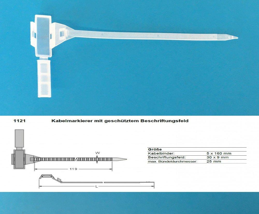 10 x Kabelmarkierer mit geschütztem Beschriftungsfeld 5x160mm ...