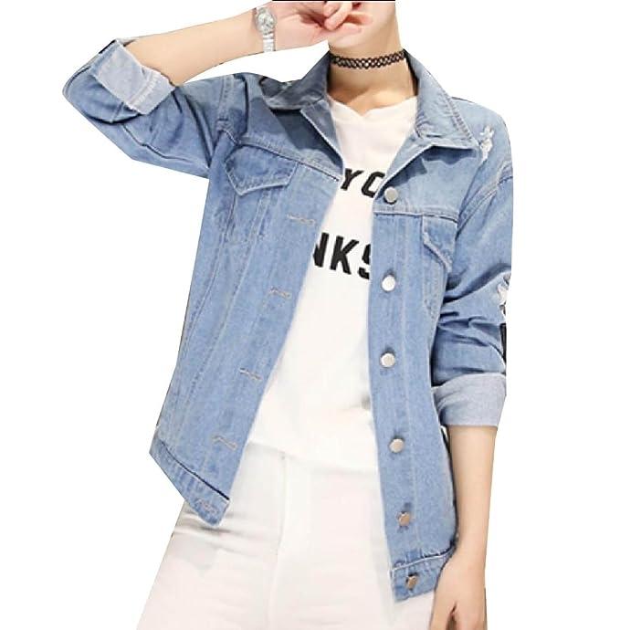 d01c35d6a7b Losait Womens Basic Plus-Size Hip Hop Denim Ripped Curvy Patch Jacket Light  Blue S