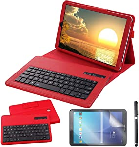 Galaxy Tab A 10.5 2018 Keyboard Case with Screen Protector & Stylus, REAL-EAGLE Slim Separable Fit PU Leather Case Cover Wireless Keyboard for Samsung Galaxy Tab A 10.5 Inch 2018 SM-T590/T595, Red