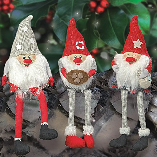 The Santa Gnomes, Set of 3, Shelfie Elf Edge Sitters, Swedish Tomte Style, Bottom Weighted, Rustic Nordic, Christmas Decoration, Faux Fur Beard, Each is 1 Ft 2 In Tall, By - Norwegian Traditional Christmas