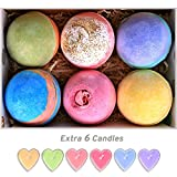 #4: Bath Bombs Gift Set Huge 5Oz Bath Bombs, Natural Vegan and Handmade, 6 Assorted Bath Bombs Including 6 Candles