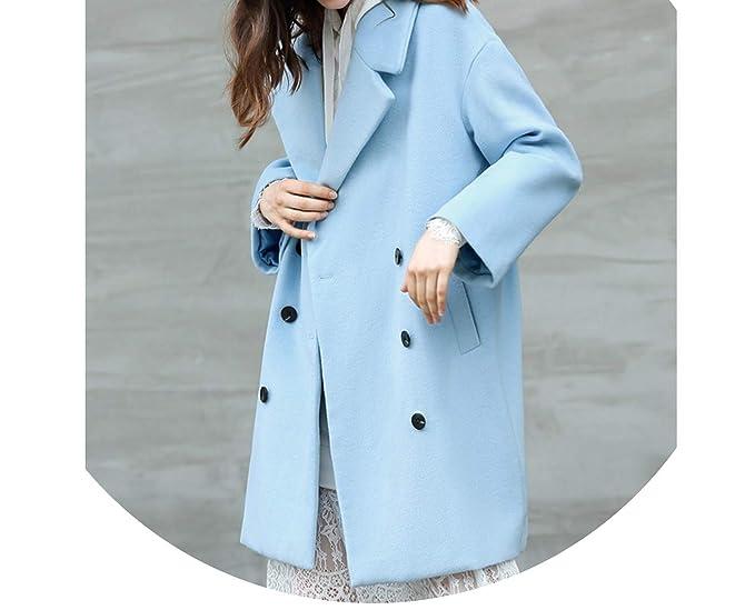 Amazon.com: Chaqueta de lana para mujer, color azul cielo ...