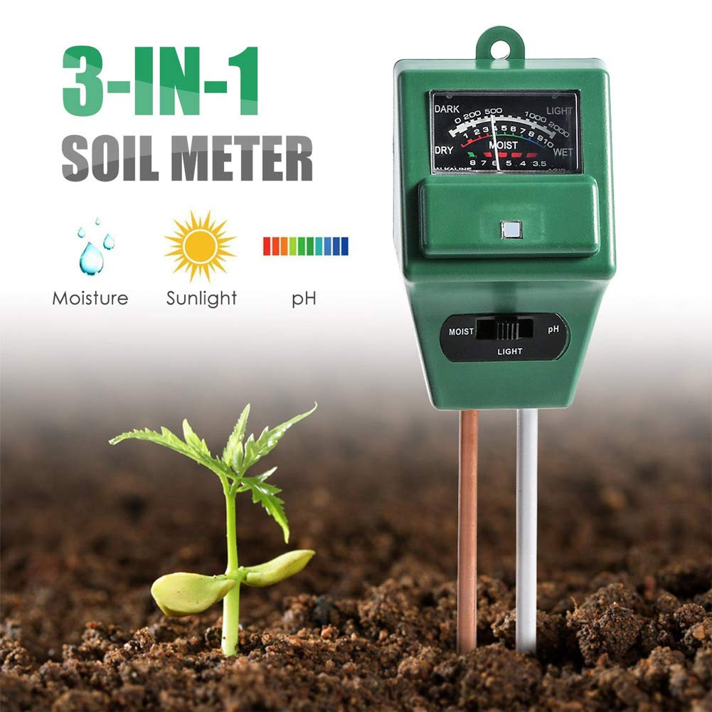 Soil PH Meter,3-in-1 Soil Test Kit for Moisture, Light & PH Test, Indoor/Outdoors Plant Care Soil Tester,for Home and Garden, Farm, Plants, Herbs & Gardening Tools(No Battery Needed) (Square)