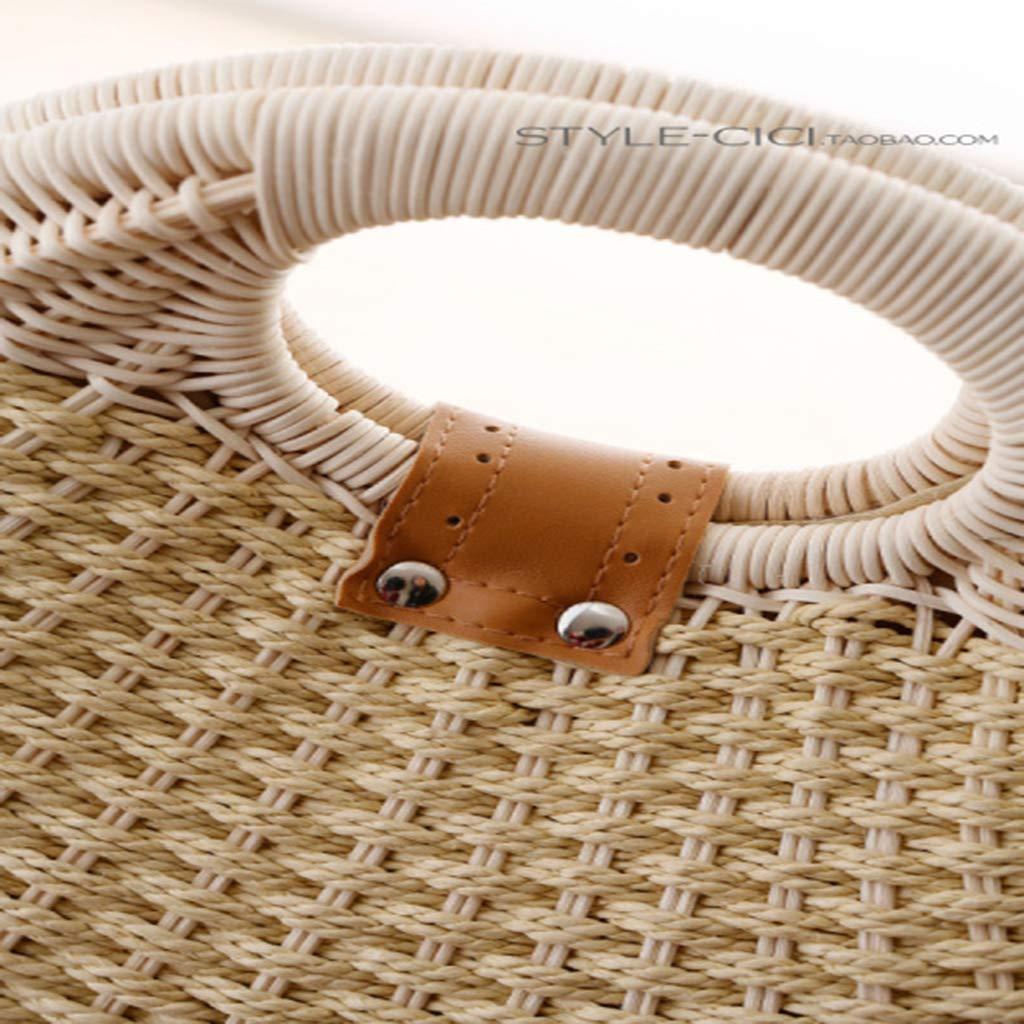 YVIVFHPWXF damväska kvinna paket vävd retro handväska rund väska för kvinnor söt snäcka strandväska lila