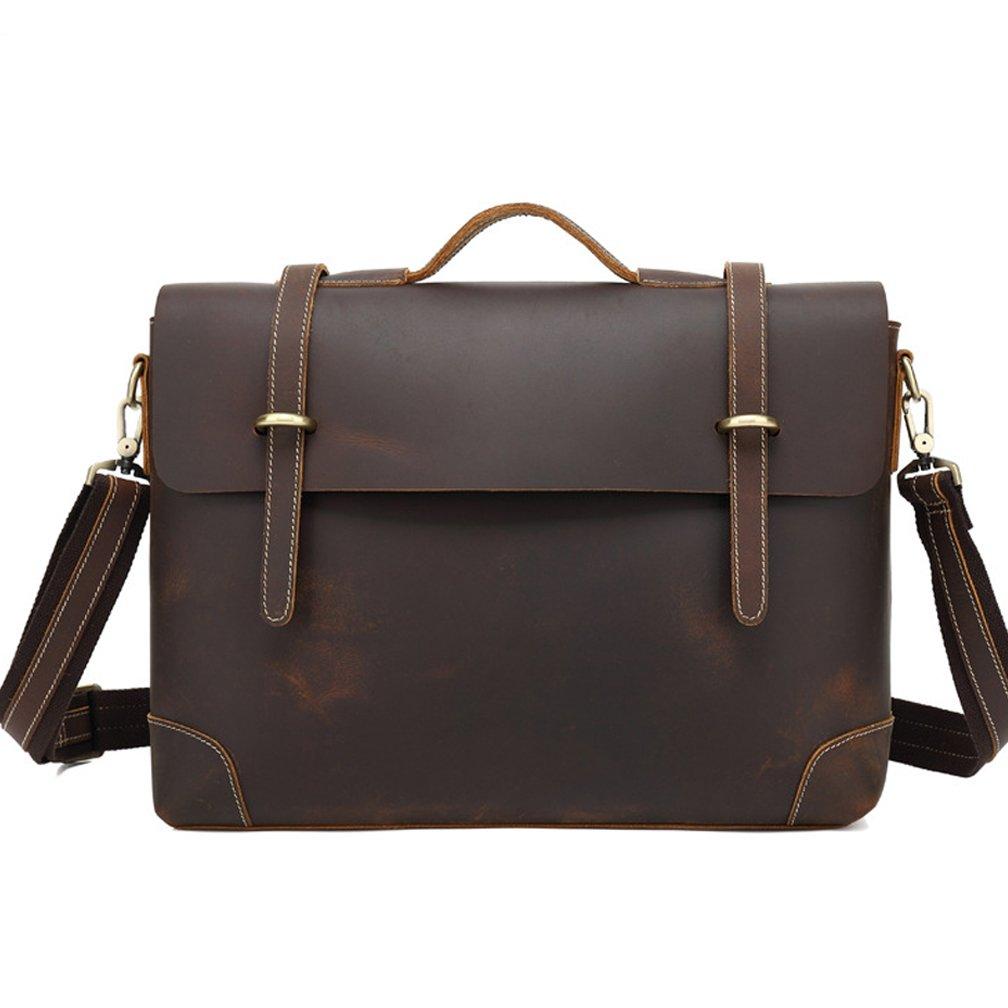 SUNROLAN Retro Buffalo Hunter Leather Office Briefcase Laptop Messenger Bag College Bag