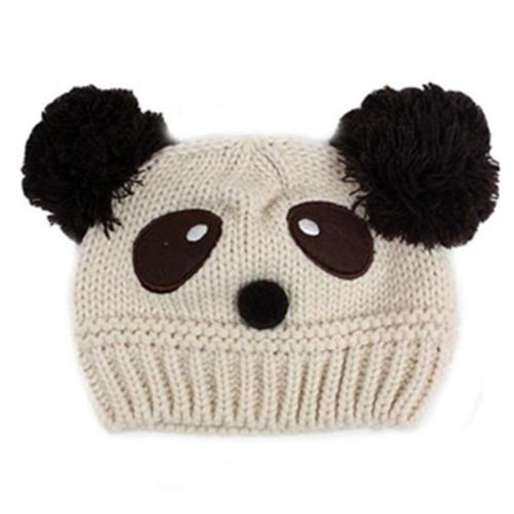 Huntgold cute Baby Girl Boy Winter Warm panda forma a maglia di lana a maglia cappello SHOMPF2027