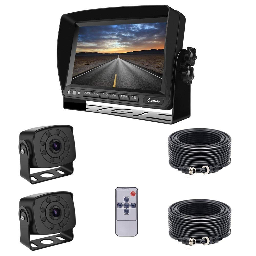 Backup Camera LCD car Monitor + 2 X 8 IR LED Rearview Cameras with Night Vision, 175 ° Angle, IP68 + 2 X 20m Connection Cable for Truck/RV/Bus/Trailer (12-32 Volts) Rückfahrkamerax 2 Set Easy to by LALAWO