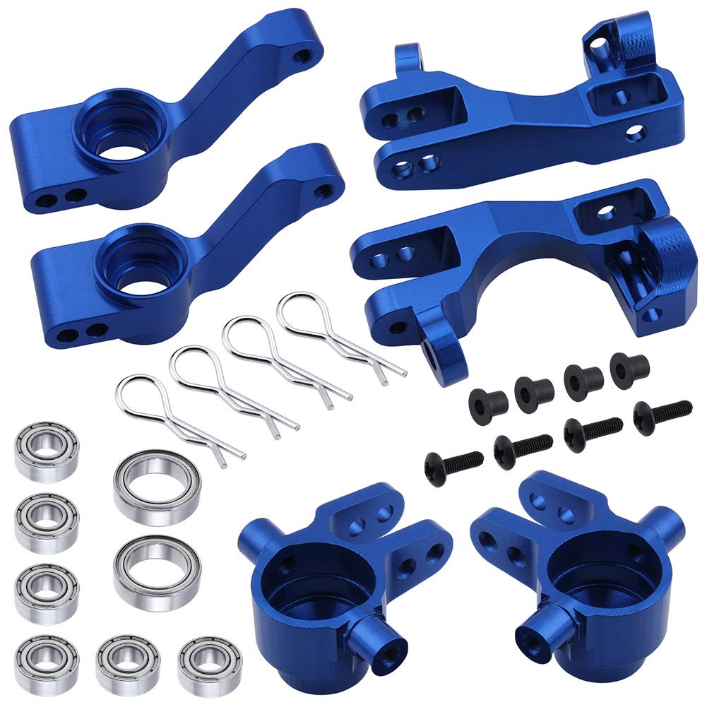 Hobbypark Aluminum Steering Blocks Caster Blocks C-Hubs Stub Axle Carriers Left & Right with Ball Bearings Replace 6837 6832 1952 for Traxxas 1/10 Slash 4x4 Hop Parts (Navy Blue) 61YOpbUwXwL