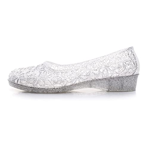 Omgard Womens Summer Ballet Flat Jelly Shoes Hollow Glitter Crystal  Platform Sandals Color White Size 7 917abe550cdc